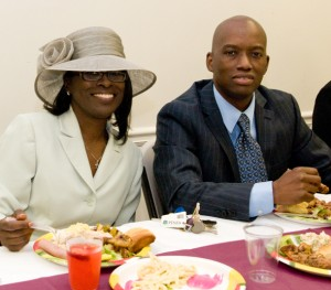 pastor and first lady at fellowship meal